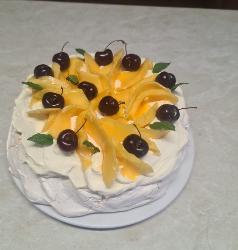 mango and cherry pavlova