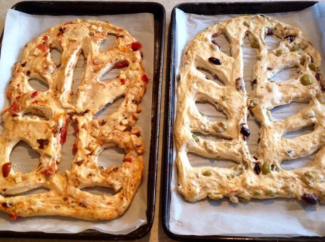 Two of the fougasses prior to baking