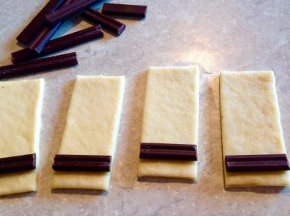step 1: place a baton on the dough
