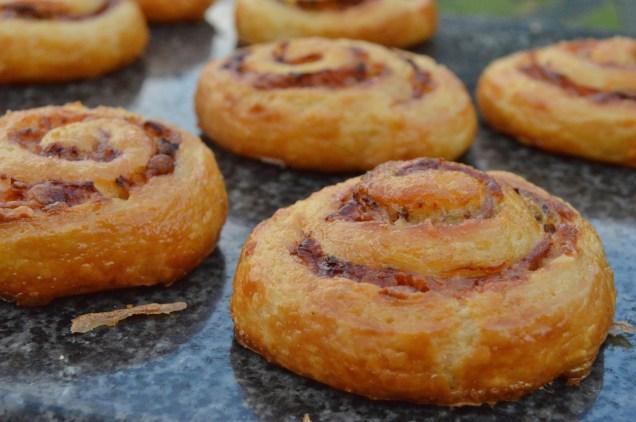 Ham, cheese & mustard croissant whirls