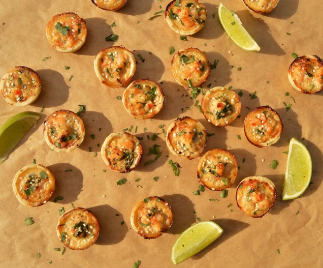 Thai prawn bites in a coriander & sesame seed pastry