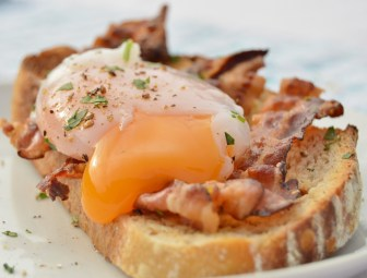 Sous-vide duck egg with crispy pancetta & toasted sourdough