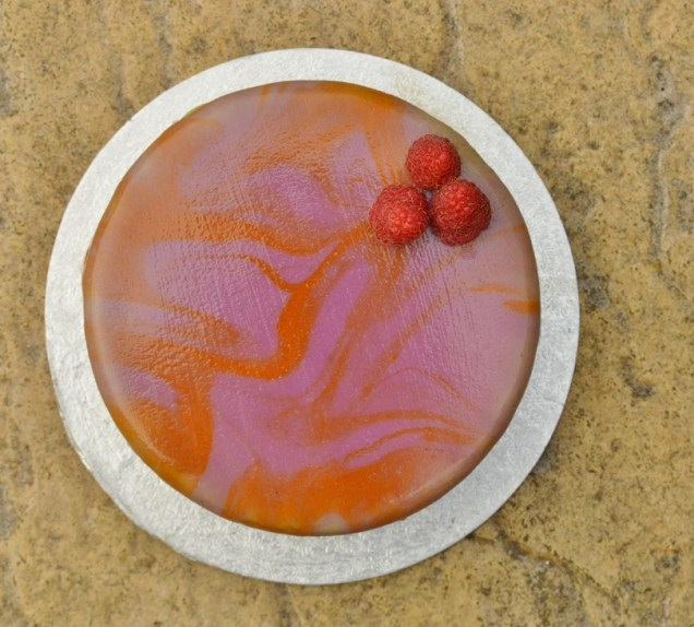 blood orange and raspberry cake with mirror glaze