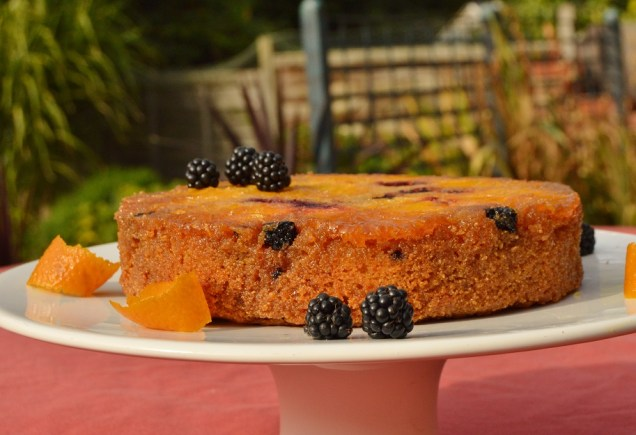 Orange and blackberry polenta cake