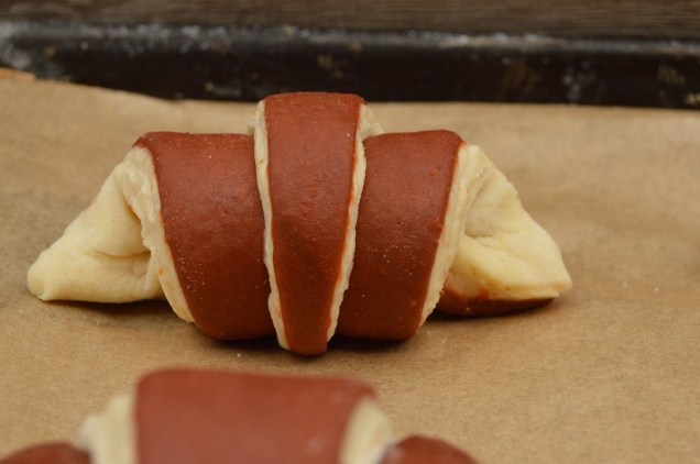 bi-coloured croissant dough: rolled up and ready to prove