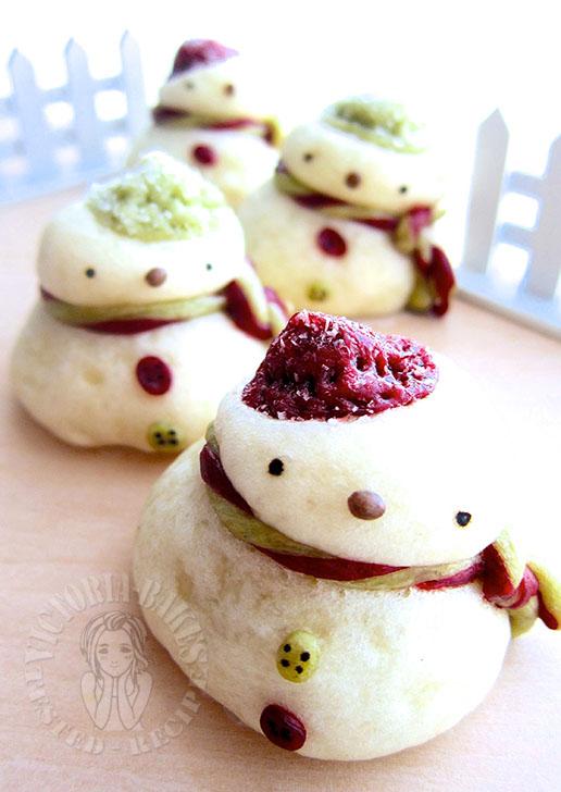 snowman steam custard bun