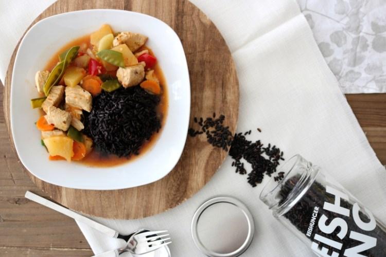 Hähnchen Süß-Sauer mit schwarzem Reis