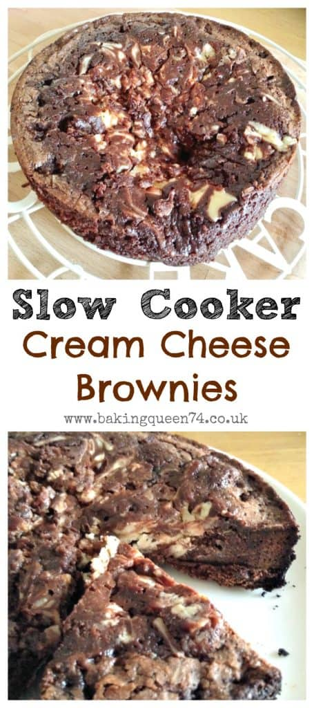 Slow Cooker Cream Cheese Brownies - if you need a fudgy brownie recipe to make in your slow cooker, with delicious sweetened cream cheese marbled filling, you're in the right place!
