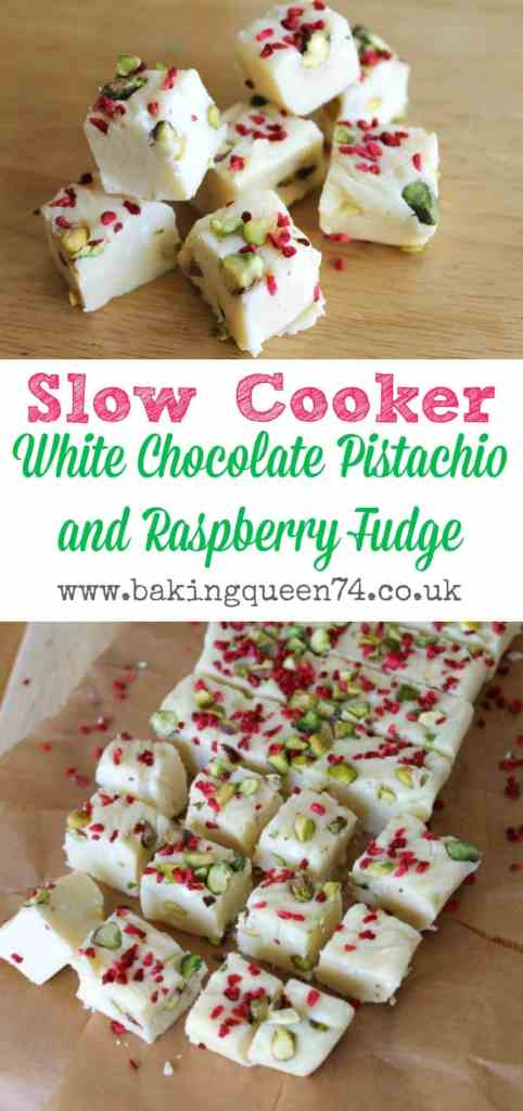 Slow Cooker White Chocolate, Pistachio and Raspberry Fudge - perfect for homemade gifts for the holiday season