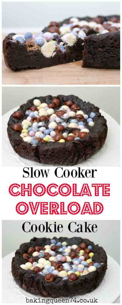 Slow Cooker Chocolate Overload Cookie Cake