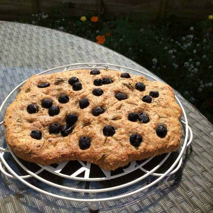 Wholemeal Olive Focaccia - BakingQueen74