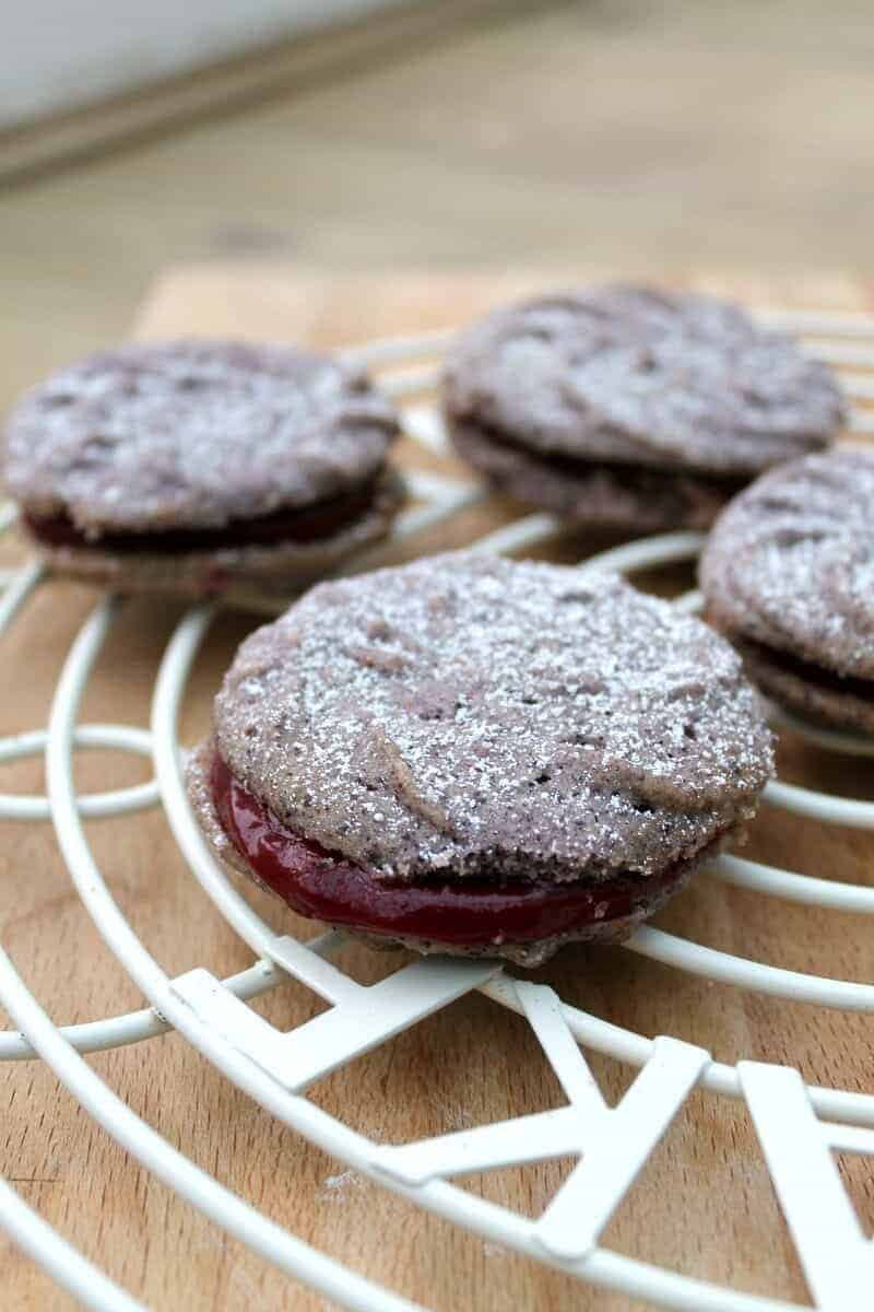 Blueberry Viennese Whirls with Blackcurrant Curd