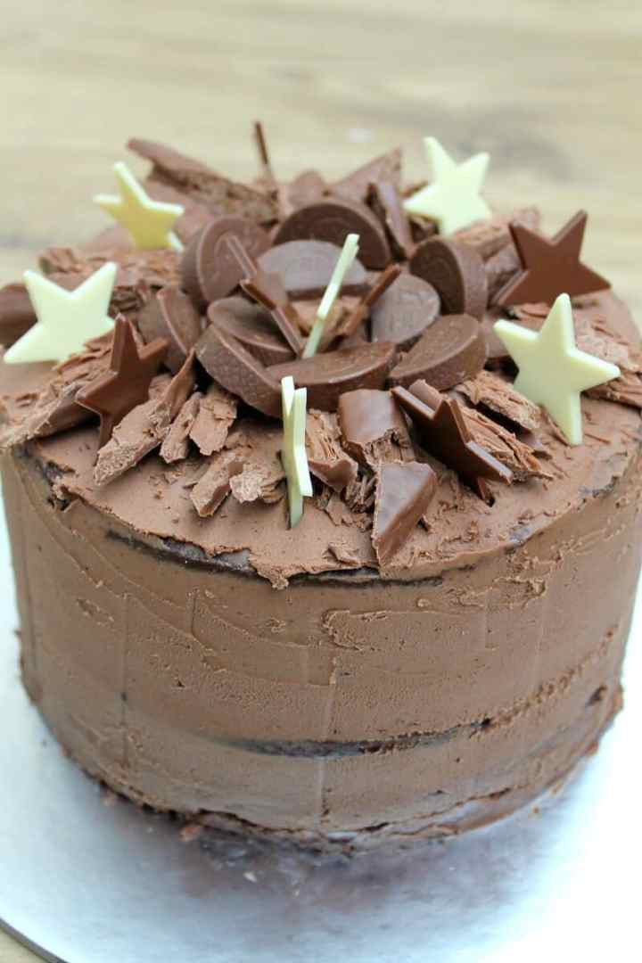 Chocolate Birthday Cake with Chocolate Buttercream topped with lots of chocolate