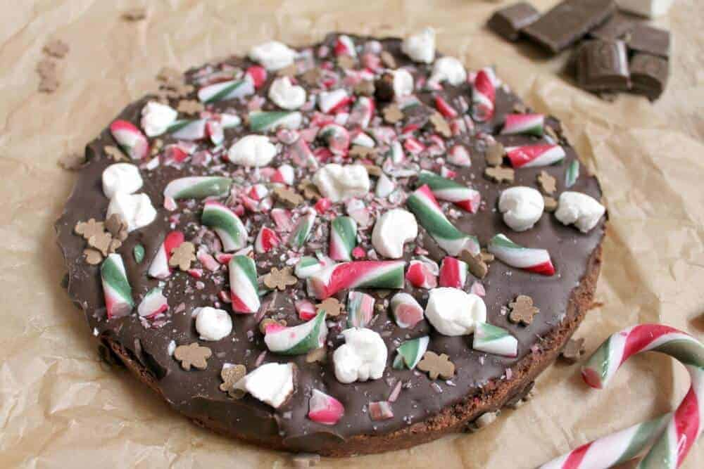 Christmas chocolate shortbread with candy canes