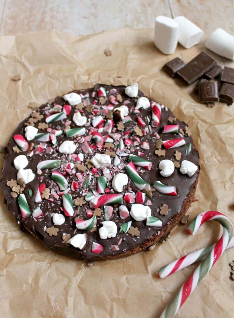 Christmas chocolate shortbread with candy canes, marshmallows and chocolate
