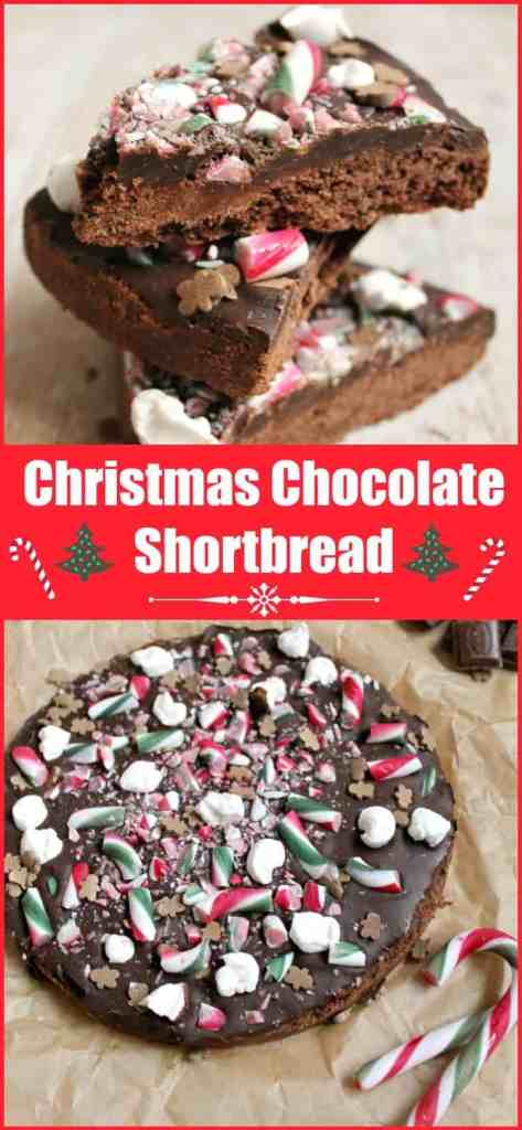 Christmas chocolate shortbread with candy canes, marshmallows and chocolate, perfect for the holidays and your festive celebrations