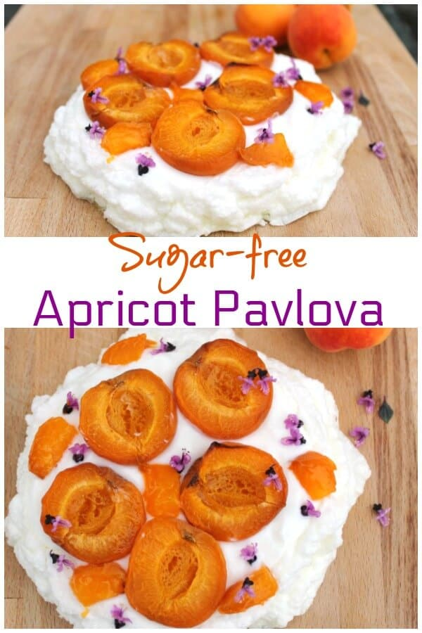 Sugar-free Pavlova with roasted apricots - a light summery dessert which is WeightWatchers friendly and so easy to make