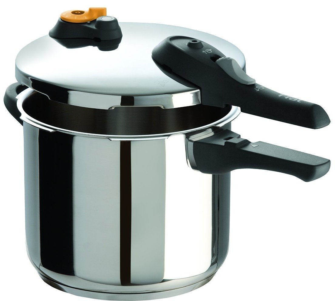 T-fal P25107 Stainless Steel Dishwasher Safe PTFE PFOA and Cadmium Free 10 / 15-PSI Pressure Cooker Cookware, 6-Quart, Silver