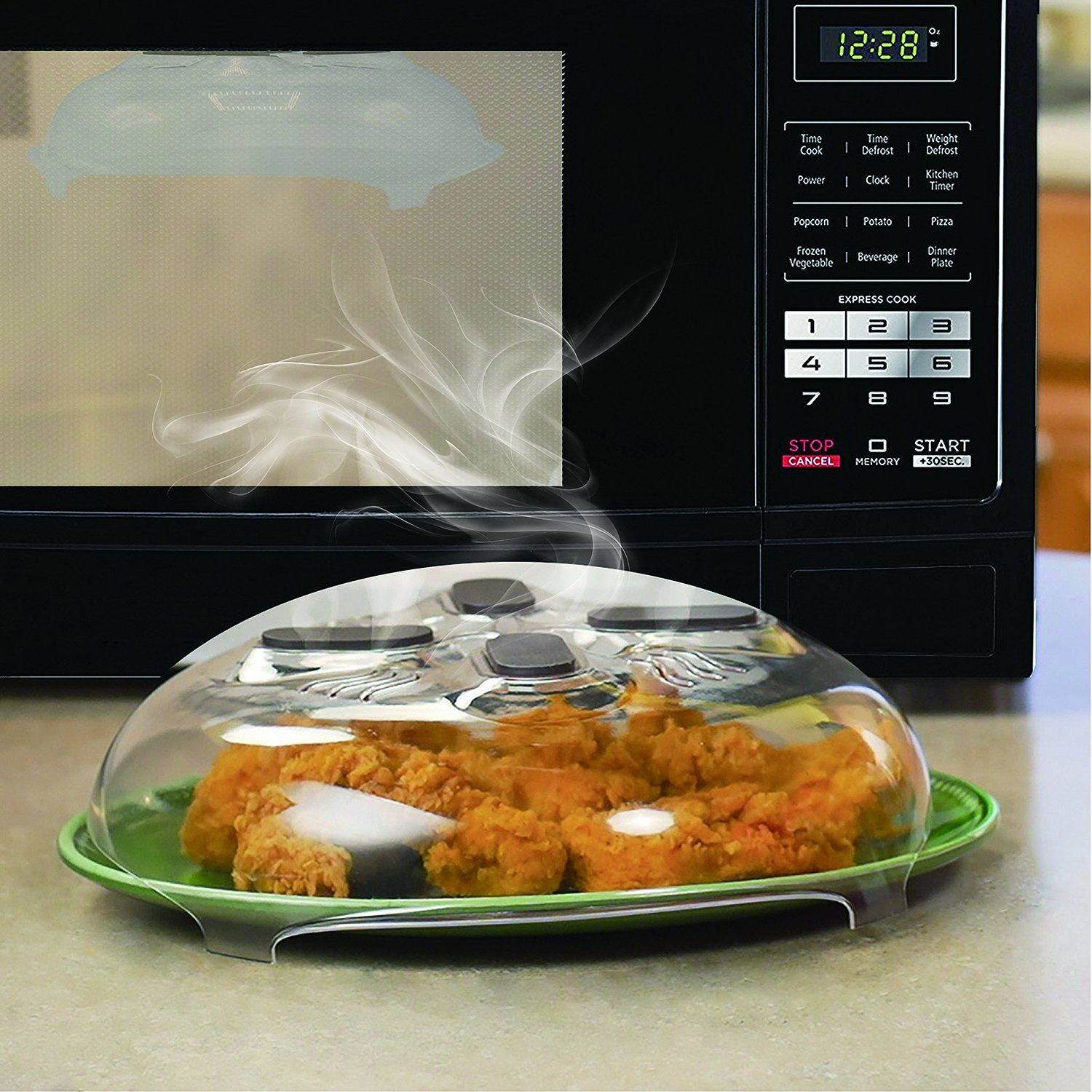 Microwave Hover Anti-Sputtering Cover, New Food Splatter Guard Microwave Splatter Lid with Steam Vents | 11.5 – Inch