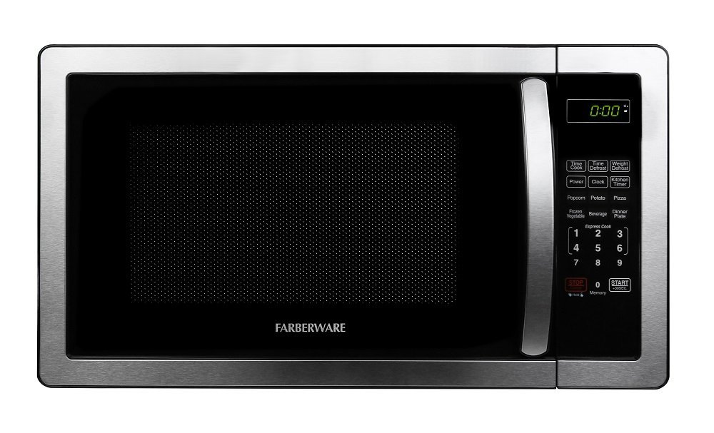 Farberware Classic 1.1 Cubic Foot Multi-stage Cooking, Child Safety Lock, 1000 Watts, Function Microwave Oven in Copper/Black