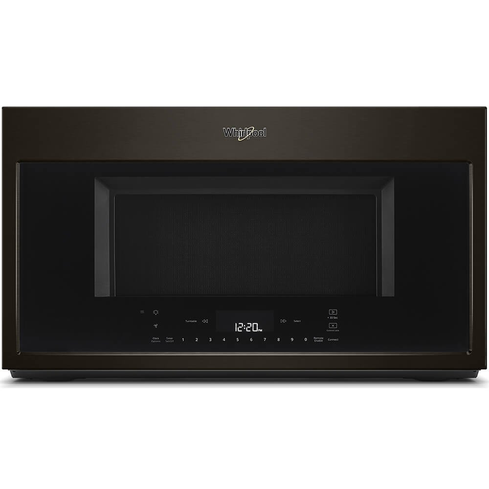 Whirlpool 30 in W 1.9 cu. ft. Smart Over the Range Convection Microwave in Fingerprint Resistant Black Stainless