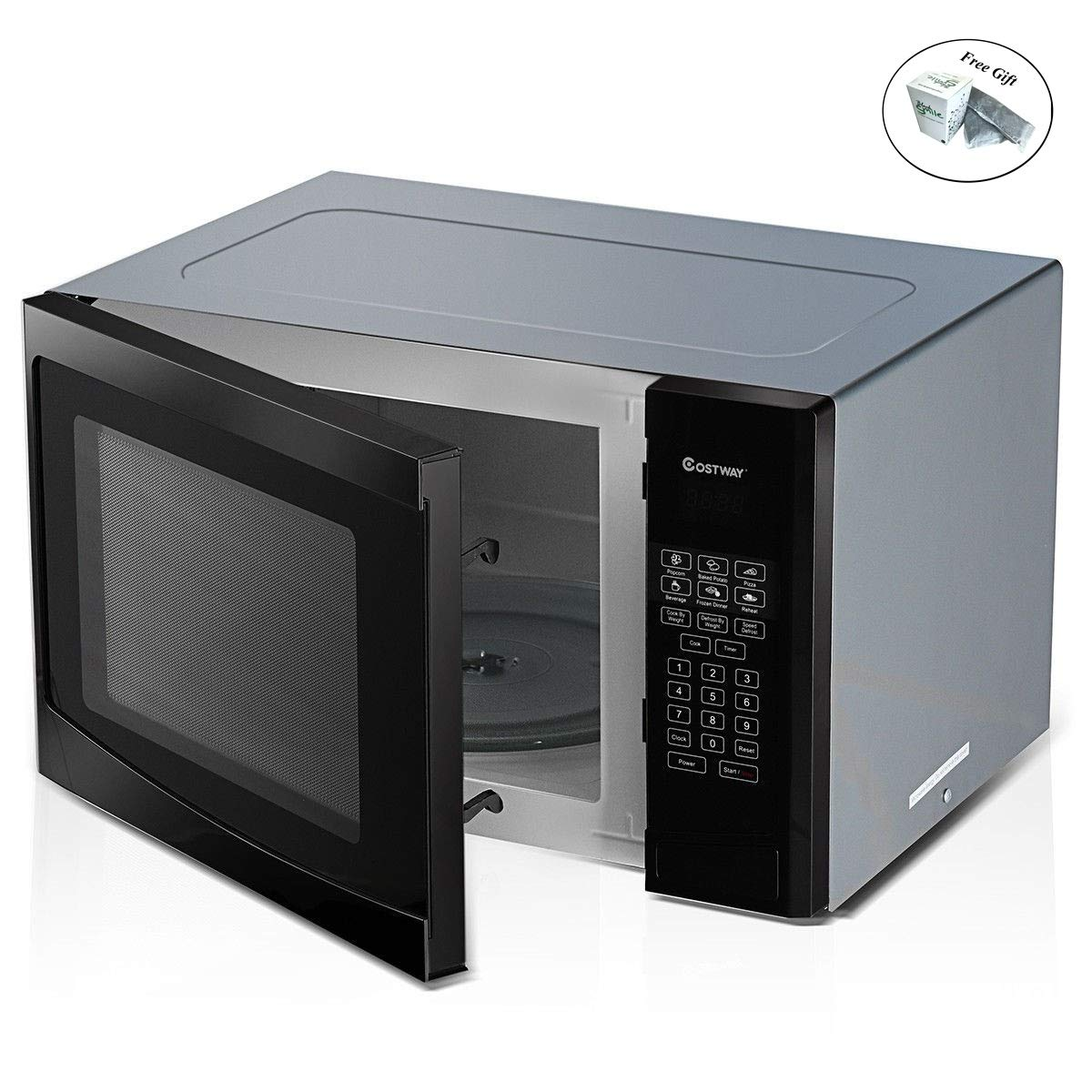Costway 1.1 cu. ft. Programmable Microwave Oven 1000W LED Display Only by eight24hours + SPECIAL GIFT