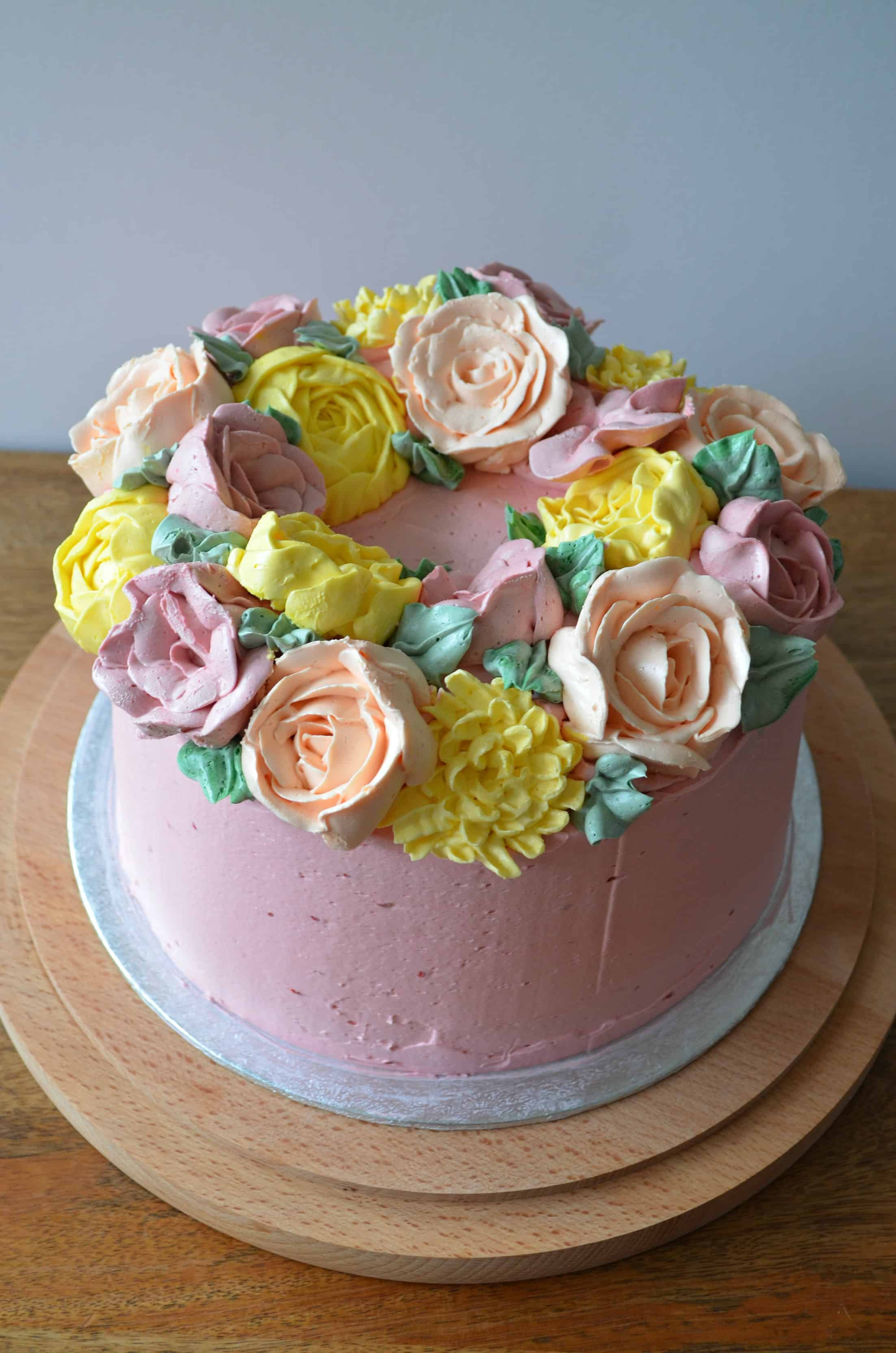 Buttercream Flower Wreath Layer Cake Baking With Aimee