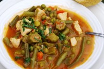 Hearty chicken soup with green veggies