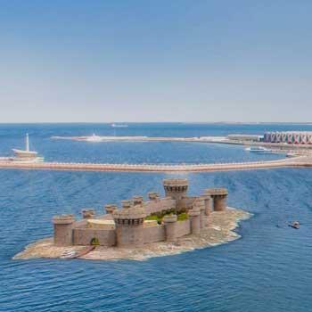 Bayil Tower. Sabayil castle. Bayil fortress in Baku, Azerbaijan