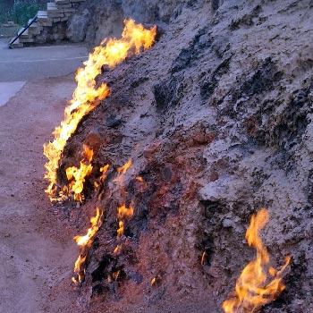 Yanar Dag Baku, Azerbaijan. Fire mountain, Burning Mountain, Janardagh