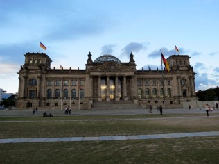 The Reichstag. See the sunset reflectedin the glass at the entrance?