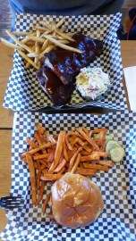 Lunch at Outlaw Grille - baby back ribs and pulled pork
