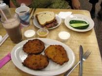 Katz's Deli classics - roast beef sandwich, potato latkes and and a New York egg cream