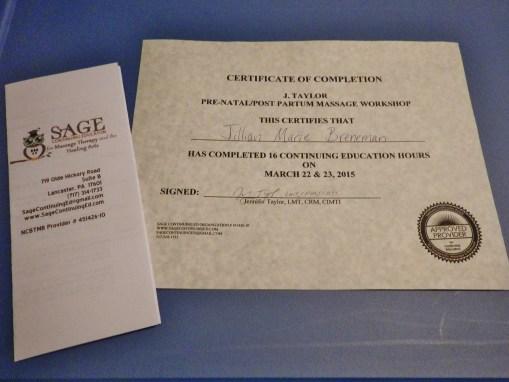 prenatal massage certificate