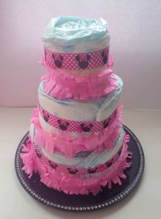 diy diaper cake with all 3 layers