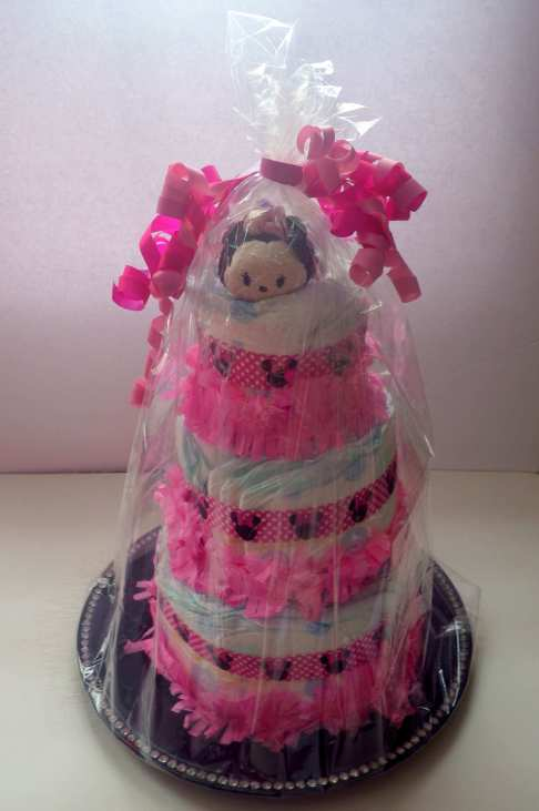 Minnie Mouse DIY Diaper Cake completed