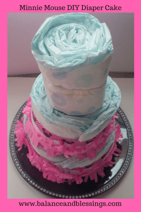diy diaper cake with three layers