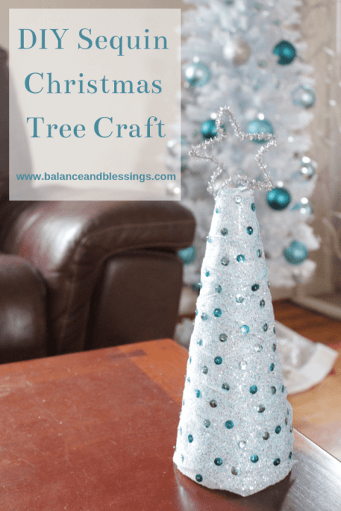 DIY Sequin Christmas Tree Craft with ribbon
