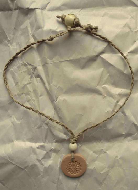 clay pendant hemp necklace