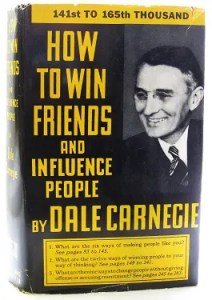 The book cover of Dale Carnegie's 'How to win friends and influence people' shown.