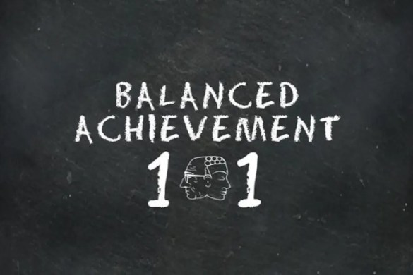 Balanced Achievement 101: A chalkboard is shown to illustrate how this post will look at the teaching philosophy at Balanced Achievement.