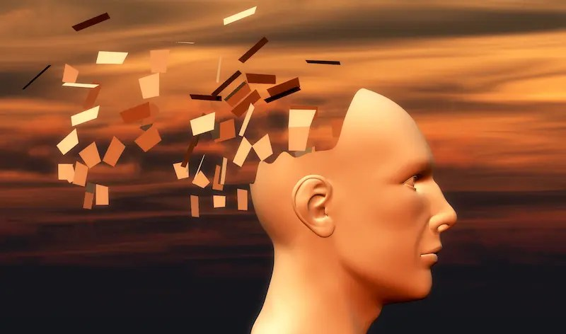 sunset and head of a man falling apart, psychology concept. psychology 101
