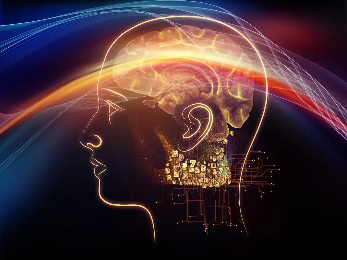 Neuroplasticity allows each of us to change the neural pathways in our brain. A computer graphic is shown of a man with a sweeping light electrifying his brain.