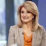Arianna Huffington is pictured interviewing at NBC.
