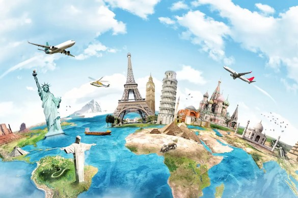 Global Sayings to Live By: An illustrated drawing of the world from above with the most popular world monuments.