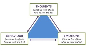 The CBT triangle shows how an individuals cognitions, emotions, and behaviors affect one another. Emotional disturbance is oftentimes created from faulty cognitions.