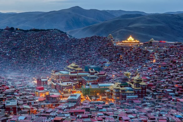 Top view monastery at Larung Gar (Buddhist Academy) in twilight time, Sichuan, China.