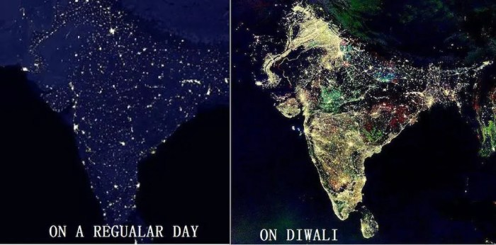 Two NASA images are shown side by side. One is one a typical day and one is on Diwali, the festival of lights. India is very dark normally, but completely lit up on Diwali.