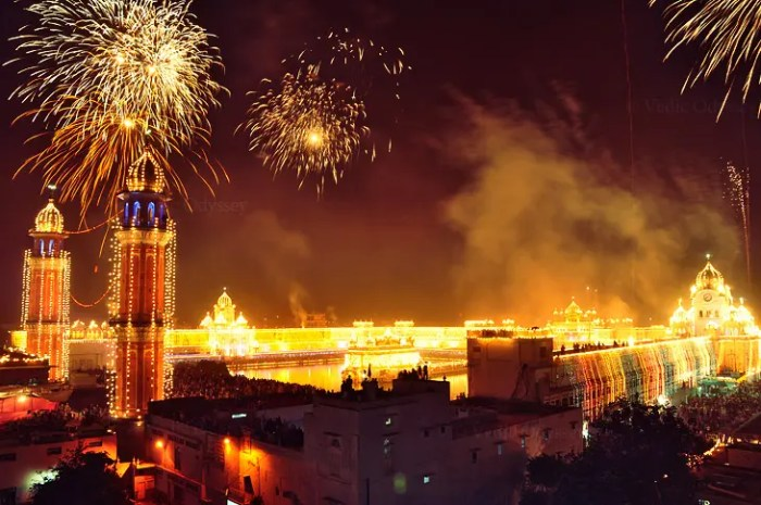 The Golden Temple, the Sikhs holiest site, is shown lit up for Diwali festivals.