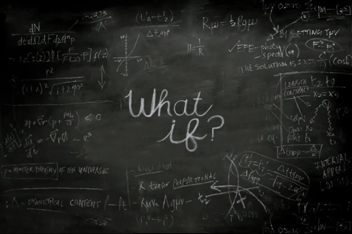 A black chalkboard is shown with the words 'What If?' written in the center and many equations on the outside of the chalkboard. This picture represents the What If of Anxiety.